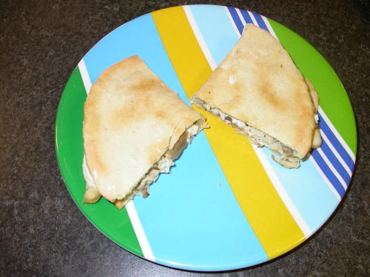 Chicken and Mushroom Flatbread Fold-Ups - served