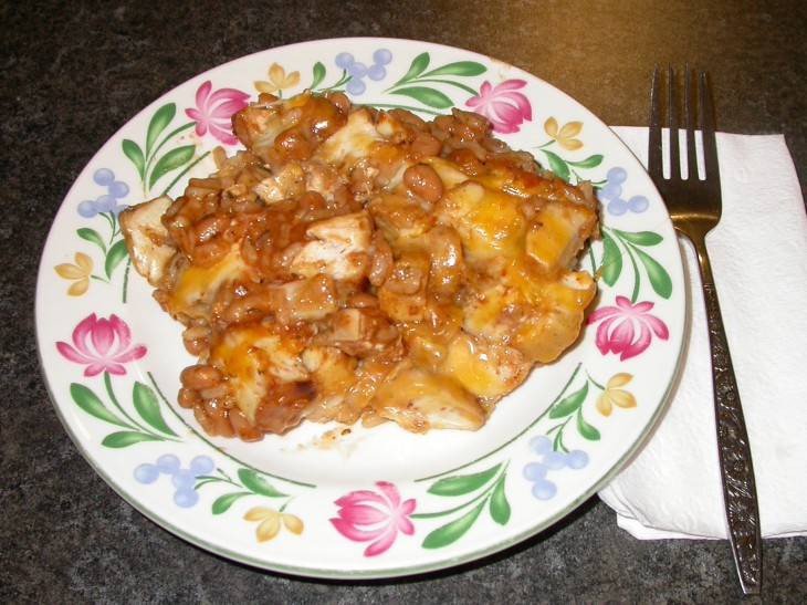 BBQ Chicken Casserole - served