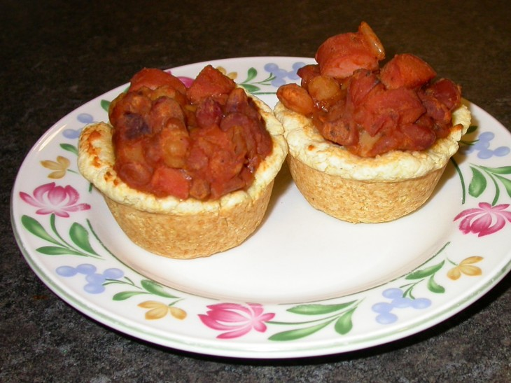 Bean and Hot Dog Cups - served