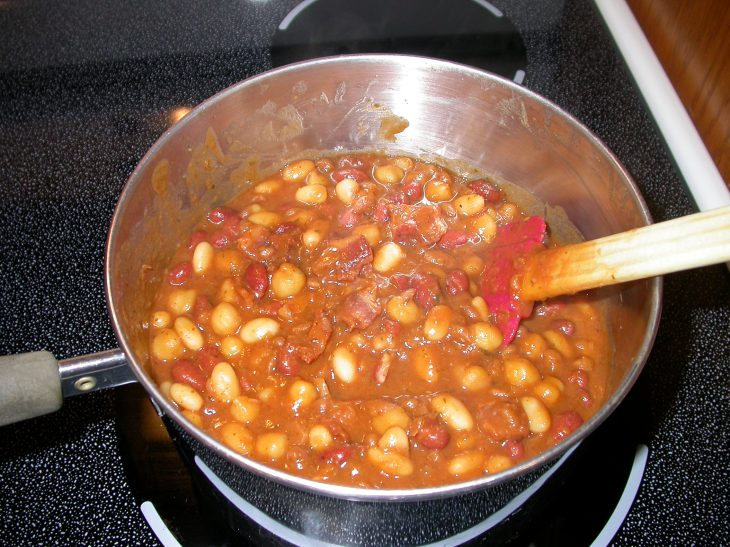 Stovetop Baked Beans - finished in pan